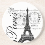 Vintage Paris Eiffel Tower Illustration Beverage Coasters