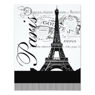 Vintage Paris Eiffel Tower Illustration Invite