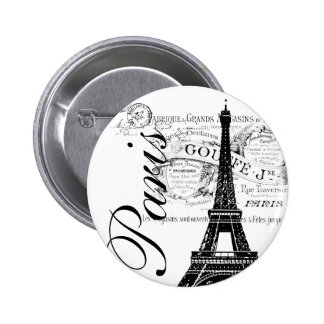 Vintage Paris & Eiffel Tower Label 2 Inch Round Button