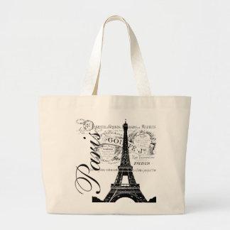 Vintage Paris & Eiffel Tower Label Canvas Bag