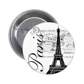 Vintage Paris & Eiffel Tower Label 2 Inch Round Button