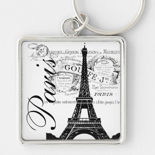 Vintage Paris & Eiffel Tower Label Keychain