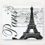Vintage Paris & Eiffel Tower Label Mousepad