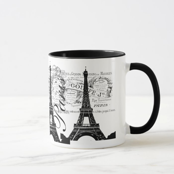 vintage paris eiffel tower label mug zazzle. Black Bedroom Furniture Sets. Home Design Ideas