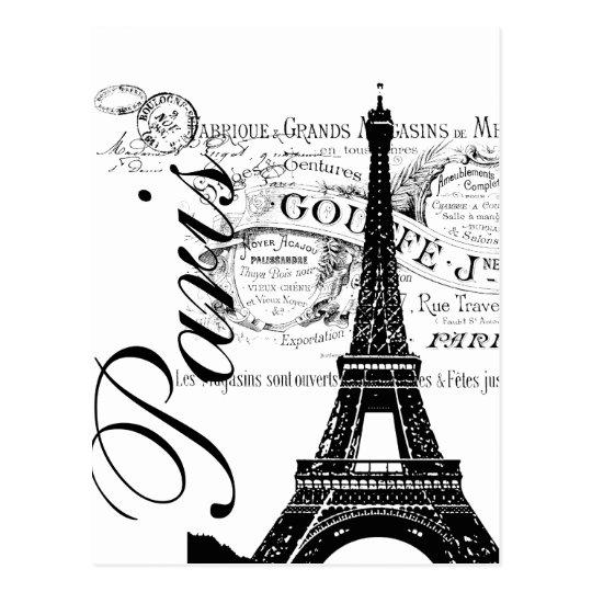 Vintage Paris & Eiffel Tower Label Postcard