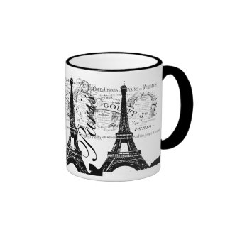 Vintage Paris & Eiffel Tower Label Ringer Coffee Mug