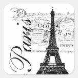 Vintage Paris & Eiffel Tower Label Square Stickers