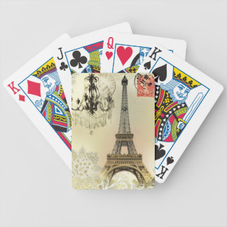 vintage paris  eiffel tower lace pattern art bicycle playing cards