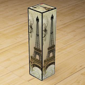 vintage paris  eiffel tower lace pattern art wine gift boxes