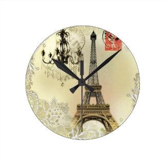 vintage paris  eiffel tower lace pattern art round clock