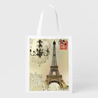 vintage paris  eiffel tower lace pattern art reusable grocery bags