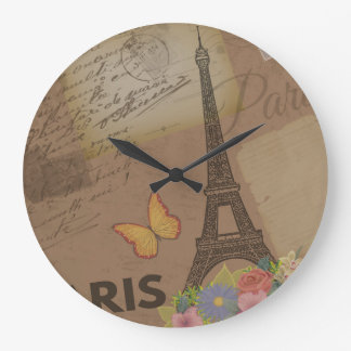 Vintage Paris Eiffel Tower Large Clock