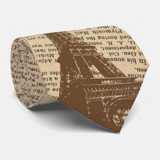 Vintage Paris Eiffel Tower Old Newspaper Neck Tie