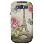 Vintage Paris Eiffel Tower Peonies Galaxy S3 case