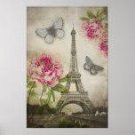 Vintage Paris Eiffel Tower Peonies poster