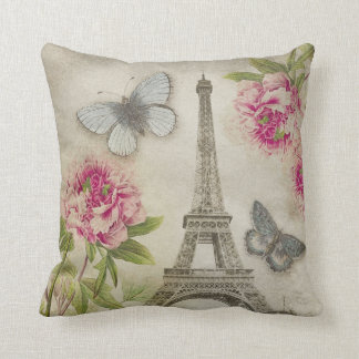 Vintage Paris Eiffel Tower Peonies Throw Pillow