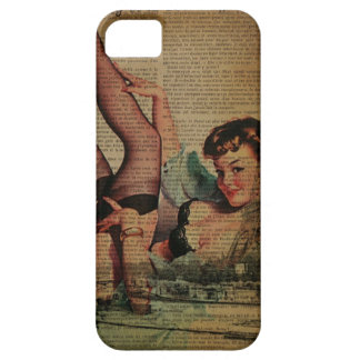 Vintage Paris Eiffel Tower pin up girl iPhone SE/5/5s Case