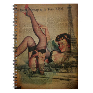 vintage paris eiffel tower pin up girl notebook