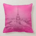 Vintage Paris & Eiffel tower Pink exposure Unique Pillow