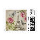 Vintage Paris Eiffel Tower Romantic Peonies stamps