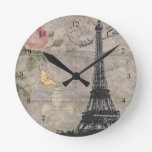 Vintage Paris Eiffel Tower Rose Butterfly Grunge Wallclocks