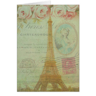 Vintage Paris Eiffel Tower Roses French Thank You Card