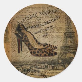 vintage paris eiffel tower stiletto fashionista classic round sticker