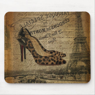 vintage paris eiffel tower stiletto fashionista mouse pad