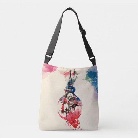Vintage Paris Eiffel Tower Travel Love Watercolor Crossbody Bag
