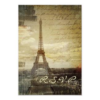 vintage Paris Eiffel Tower Wedding RSVP response Card