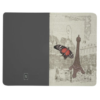 Vintage Paris eiffel tower with butterfly Journal