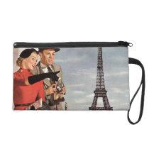 Vintage Paris - Eiffel Tower Wristlet