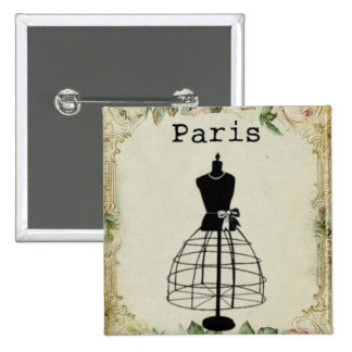 Vintage Paris Fashion Dress Form 2 Inch Square Button