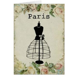 Vintage Paris Fashion Dress Form Card
