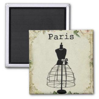 Vintage Paris Fashion Dress Form 2 Inch Square Magnet
