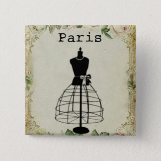 Vintage Paris Fashion Dress Form Pinback Button