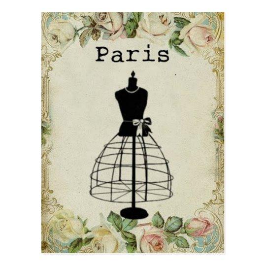 Vintage Paris Fashion Dress Form Postcard