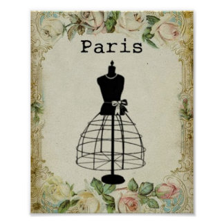 Vintage Paris Fashion Dress Form Poster
