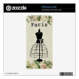 Vintage Paris Fashion Dress Form Skin For iPhone 4