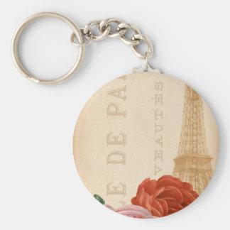 Vintage Paris Floral Package Tag Basic Round Button Keychain