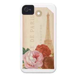Vintage Paris Floral Package Tag iPhone 4 Case
