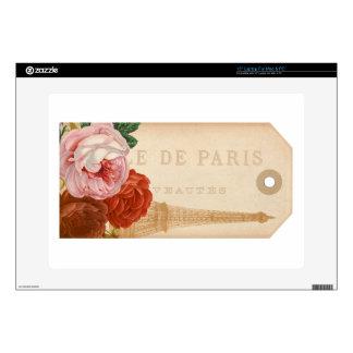 Vintage Paris Floral Package Tag Laptop Decal