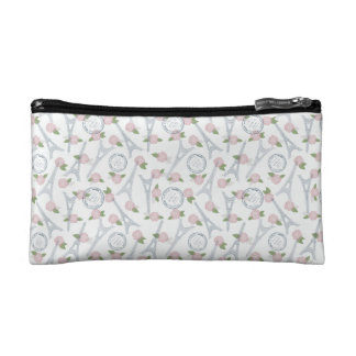 Vintage,paris,floral,pattern,trendy,girly,white, Makeup Bags