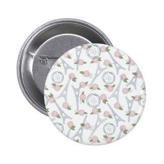 Vintage,paris,floral,pattern,trendy,girly,white, 2 Inch Round Button