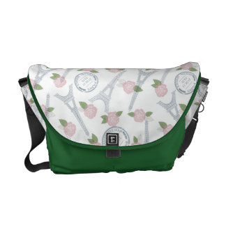 Vintage,paris,floral,pattern,trendy,girly,white, Courier Bag