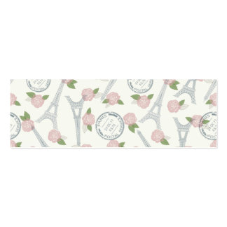 Vintage,paris,floral,pattern,trendy,girly,white, Double-Sided Mini Business Cards (Pack Of 20)