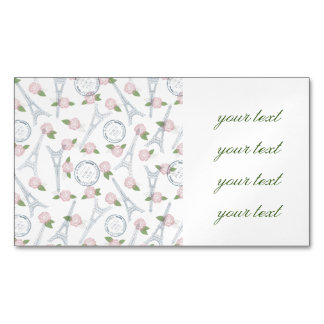Vintage,paris,floral,pattern,trendy,girly,white,ei Magnetic Business Cards (Pack Of 25)