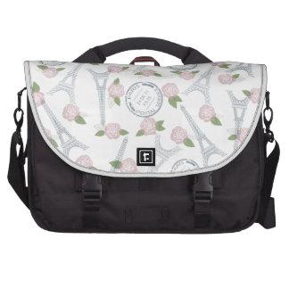 Vintage,paris,floral,pattern,trendy,girly,white, Commuter Bag