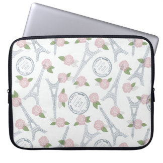 Vintage,paris,floral,pattern,trendy,girly,white, Laptop Computer Sleeve