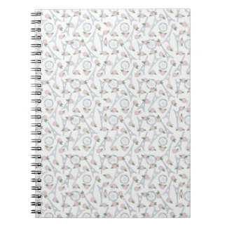 Vintage,paris,floral,pattern,trendy,girly,white, Note Books